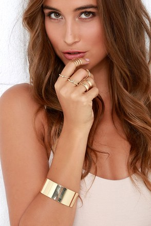 Hit the Jackpot Gold Bracelet and Ring Set at Lulus.com!