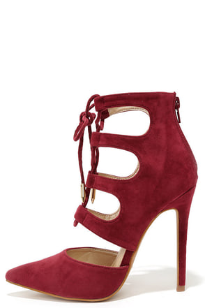 Ties for You Wine Red Suede Lace-Up Heels at Lulus.com!