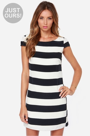 LULUS Exclusive Ship Captain Ivory and Navy Blue Striped Dress