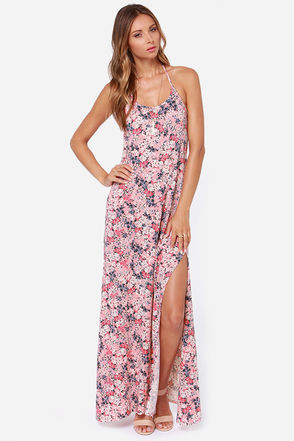 O'Neill Alia Pink Floral Print Maxi Dress