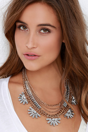 Just Fabulous Gold Rhinestone Layered Statement Necklace at Lulus.com!