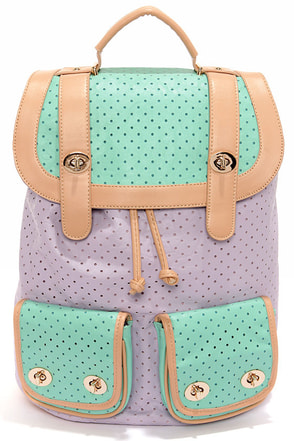 Hole-y Moly Perforated Lavender and Mint Backpack