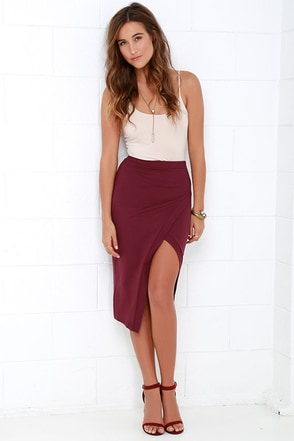 Debate Team Burgundy Envelope Midi Skirt at Lulus.com!