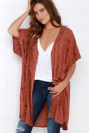 Villa View Rust Red Embroidered Kimono Top at Lulus.com!