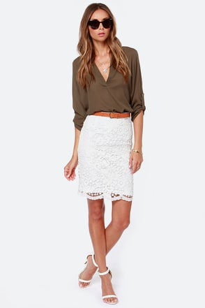Midi Moons Ivory Lace Pencil Skirt