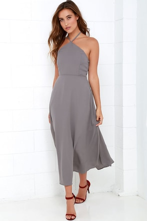 Calligraphy Class Grey Halter Midi Dress at Lulus.com!
