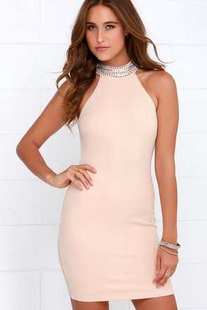 Living in Luxury Beaded Blush Halter Dress at Lulus.com!