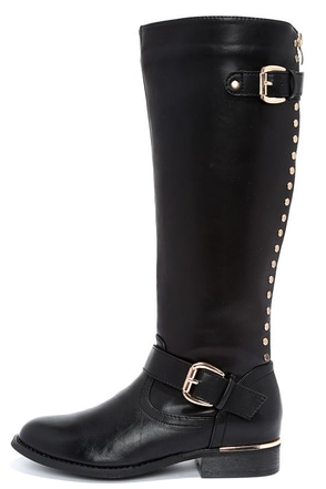 Luck Would Have It Studded Black Knee High Boots at Lulus.com!