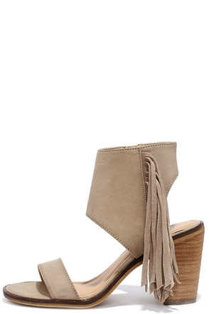 Very Volatile Vermont Taupe Fringe Ankle Cuff Sandals at Lulus.com!