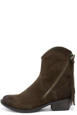 Report Signature Von Brown Suede Leather Mid-Calf Boots at Lulus.com!