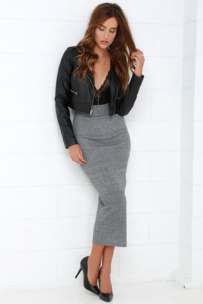 We Run This Grey Bodycon Midi Skirt at Lulus.com!