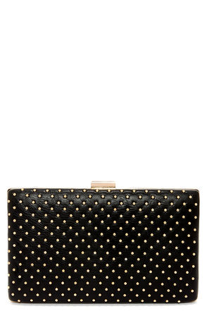 True Stud Studded Black Clutch