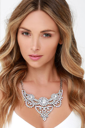 Champagne Pop Silver Rhinestone Statement Necklace at Lulus.com!