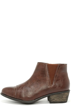 Two Steppin' Brown Ankle Boots at Lulus.com!