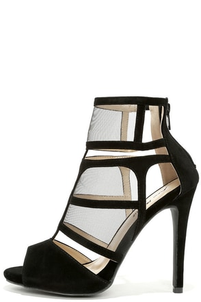 Sheer We Go Black Mesh Peep Toe Heels at Lulus.com!