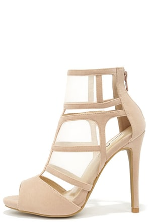 Sheer We Go Nude Mesh Peep Toe Heels at Lulus.com!