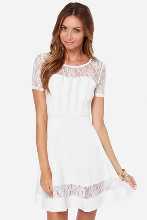 Lace to the Top Ivory Lace Dress