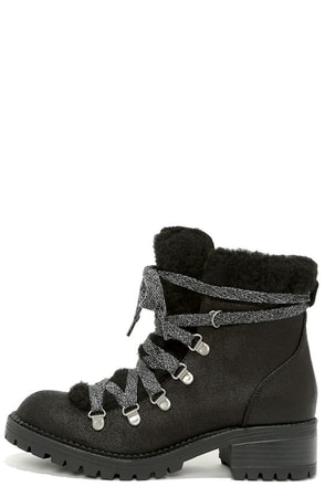 Madden Girl Bunt Black Multi Lace-Up Boots at Lulus.com!