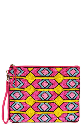 Pop Moroccan Fuchsia Beaded Clutch