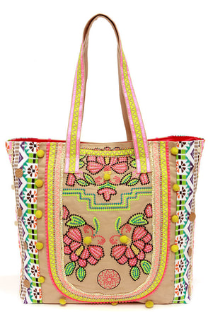 Season of the Stitch Embroidered Beige Tote