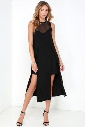 Elliatt Distinct Black Mesh Midi Dress at Lulus.com!