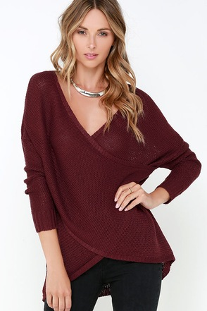 Sweet Schemes Burgundy Wrap Sweater at Lulus.com!