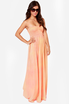 O'Neill Tory Strapless Peach Maxi Dress