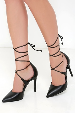 Steve Madden Raela Black Leather Pointed Lace-Up Heels at Lulus.com!