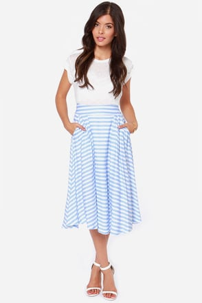 JOA All Striped Up Ivory and Light Blue Striped Midi Skirt