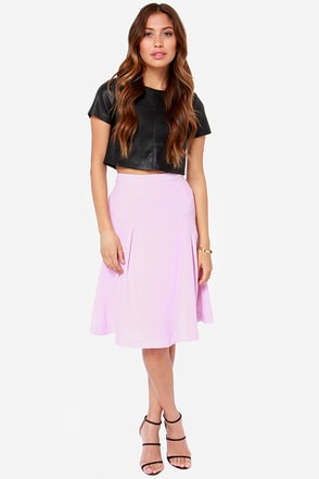 JOA Make A Seam Light Mauve Midi Skirt