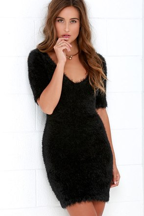 Feline Grace Fuzzy Black Bodycon Dress at Lulus.com!
