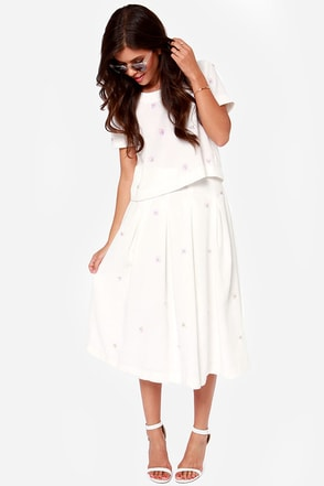 JOA We'll Always Have Paris Beaded Ivory Midi Skirt
