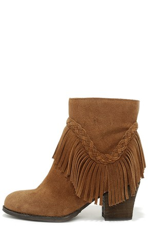 Sbicca Patience Tan Suede Leather Fringe Booties at Lulus.com!