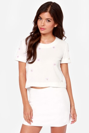 JOA A Notch Above Beaded Ivory Top