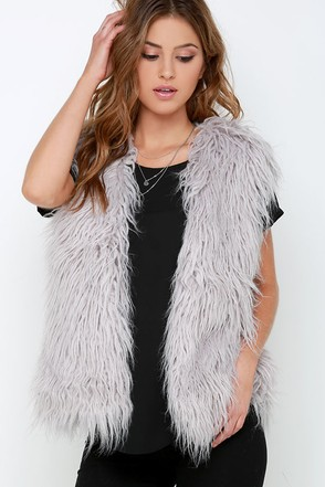 Mink Pink Endless Shaggy Grey Faux Fur Vest at Lulus.com!