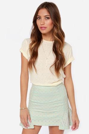 Pretty Lace Skirt Light Blue Skirt Peplum Skirt 67 00