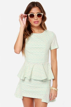 JOA Pass the Peplum Light Blue Lace Top