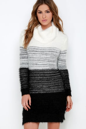 Elliatt Take Flight Black and Ivory Sweater Dress at Lulus.com!