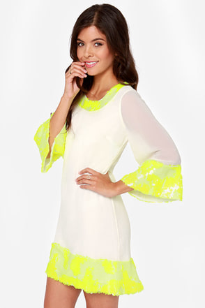 Dress the Population Jessie Ivory and Neon Yellow Sequin Dress