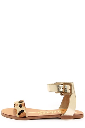 Rebels Melvi Leopard and Bronze Leather Sandals