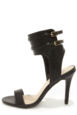 Milan 11 Black Ankle Cuff Dress Sandals
