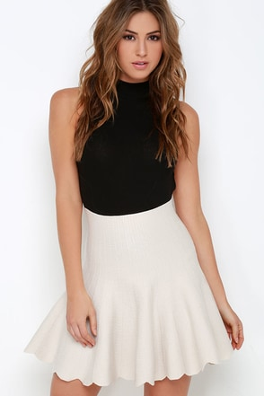 JOA Sweet On Me Light Beige Skater Skirt at Lulus.com!