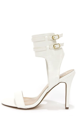 Milan 11 White Ankle Cuff Dress Sandals
