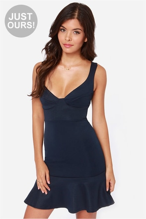 LULUS Exclusive First Date Navy Blue Dress
