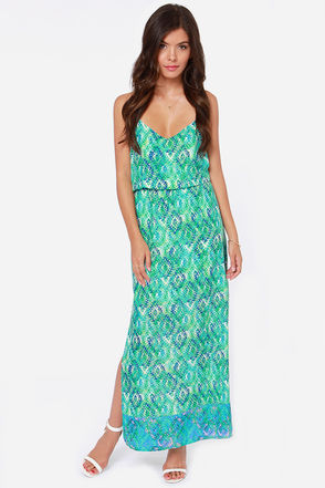 Ready to Roll Green and Blue Print Maxi Dress at Lulus.com!
