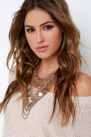Boho Charm Gold Layered Statement Necklace at Lulus.com!
