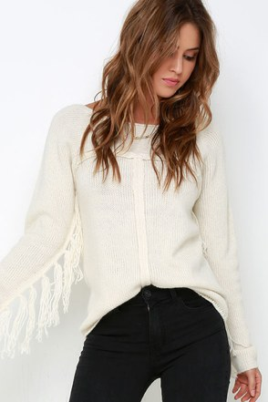 Others Follow Mila Cream Fringe Sweater at Lulus.com!