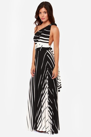 Switch Lanes Black and White Striped Maxi Dress