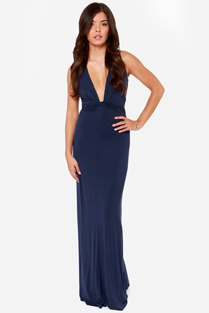 Knot A Bad Thing Navy Blue Maxi Dress