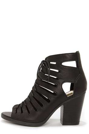 Madden Girl Vital Black Cutout Peep Toe Booties